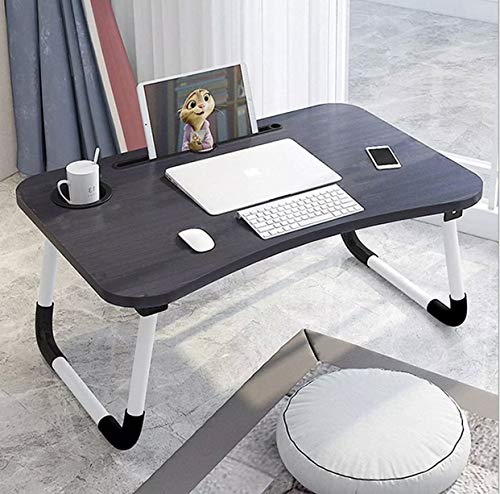 SAFEYA Laptop Desk, Portable Laptop Bed Tray Table Notebook Stand Reading Holder with Foldable Legs & Cup Slot for Eating Breakfast, Reading Book, Watching Movie on Bed/Couch/Sofa (Color-Black)