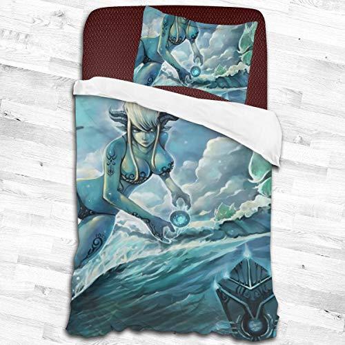 AUTIANYU Game World Warcraft 2-teiliges Bettwäsche-Set, Mikrofaser, 1 Kissenbezug und 1 Bettdeckenbezug, 2 Größen, 139,7 cm x 213 cm