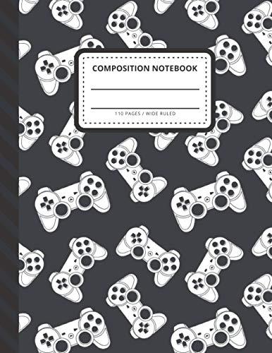 Composition Notebook: Black White Gamer Joystick Game Controller Art / Wide Ruled Notebook Paper for Kids / Large Writing Journal for Homework - Notes ... / Back to School for Boys Girls Children