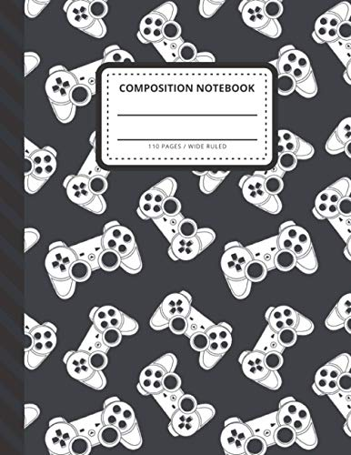 Composition Notebook: Black White Gamer Joystick Game Controller Art / Wide Ruled Notebook Paper for Kids / Large Writing Journal for Homework - Notes ... / Back to School for Boys Girls Children
