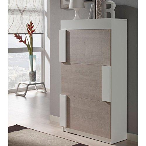 Tousmesmeubles Meuble à Chaussures Blanc/Chêne Clair - Tyra - L 74 x l 29 x H 129 - Neuf
