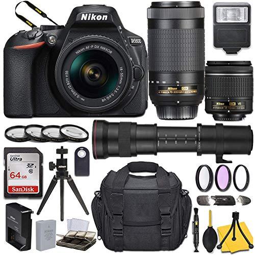 Nikon D5600 DSLR Camera with AF-P DX NIKKOR 18-55mm f/3.5-5.6G VR + AF-P DX NIKKOR 70-300mm f/4.5-6.3G ED + 420-800mm Telephoto Zoom Lens and Basic Travel Kit