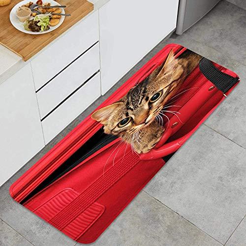 Alfombra de Cocina Antideslizante,Gatito en una Maleta Estera de Cocina Felpudos Decorativo Alfombra Alfombra de Poliéster para Dormitorio Baño Pasillo 45 x 120cm