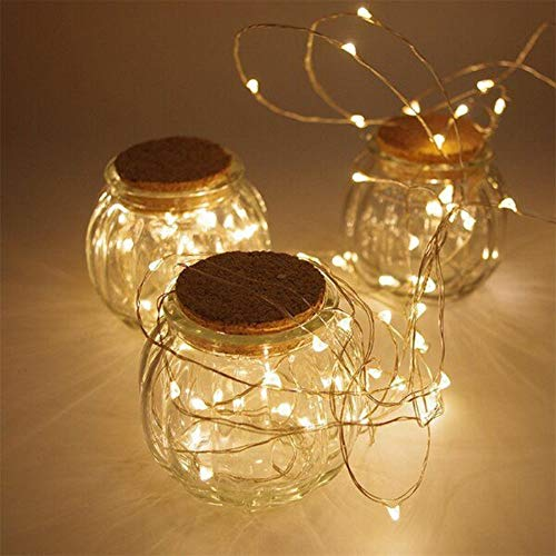 ANGMLN 2 Pack Fairy String Lights Battery Operated 3M 30LED Copper Wire Firefly Small led Lights Starry String Lights DIY Wedding Party Jars Home Garden Indoor Outdoor Decor (Warm White)