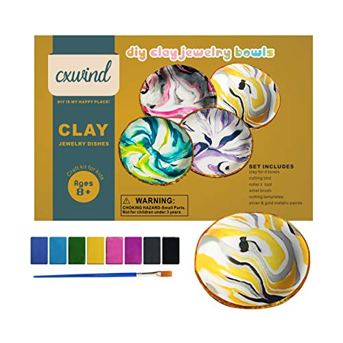 Arts and Crafts for Kids Ages 8-12 - DIY Marbled Clay Jewelry Dishes Kits(Makes 4) - DIY Clay Jewelry Dish Arts and Crafts Kit - Fun Baking Clay Dish for Teen Girls Ages 10-12 12-14