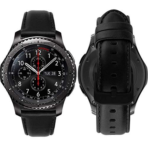 MroTech Correa de Reloj 22mm Band Compatible para Samsung Gear S3 Frontier/Classic/Galaxy 46mm Pulsera de Repuesto para Huawei Watch GT 2 /GT Sport/Active/Elegant 22 mm Banda de Cuero Piel Negro