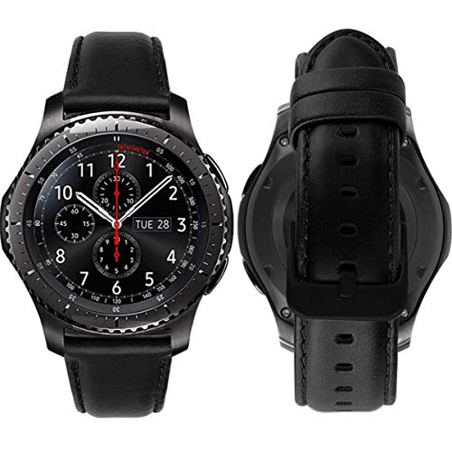 Gear s3 Armband Leder Vintage Lederarmband Galaxy Watch 46mm Uhrenarmband 22mm Echtes Lederband kompatibel für Samsung Gear S3 Frontier Classic, Huawei Watch 2 Classic / Huawei GT Bracelet- Schwarz