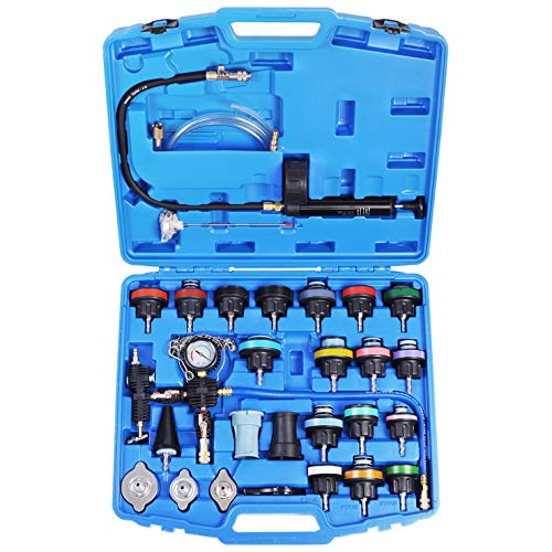YSTOOL Radiator Pressure Tester Pneumatic Vacuum Cooling System Purge Refill Kit 28PCS Universal Automotive Water Tank Leak Test and Coolant Fill Tool Set with Adapters Gauge Case