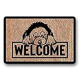 N/A Felpudo Felpudo de Bienvenida para Perros Pastor inglés Antiguo Alfombrilla de Bienvenida para Mascotas Regalo para Cachorros Decoración del hogar Alfombrilla Personalizada para Puerta Collie