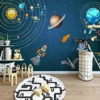 カスタム壁画手描きの漫画宇宙宇宙惑星子供部屋寝室の壁の装飾写真ポスター壁紙, 200cm×140cm