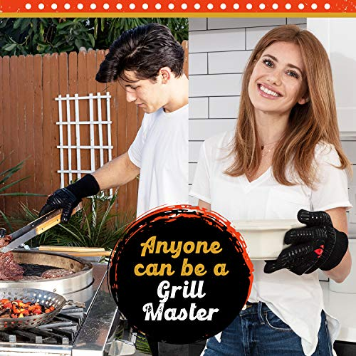 BBQ Gloves Heat Resistant 1,472℉ Extreme.Kitchen Dexterity Handle Oven Cooking Hot Food on Cast Iron, Baking, Barbecue, Smoker. Multi-Purpose Fireproof Indoor Outdoor Use Men & Women. GRILL HEAT AID
