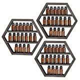 LIANTRAL Essential Oil Storage, Wall Mounted Floating Hexagon Display Shelves Rack for Essential Oils & Nail Polish, 3 Packs