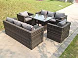 Fimous 8 Seater Lounge Rattan Sofa Set Dining Table Chairs Garden Furniture Outdoor
