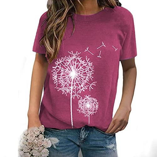 Camiseta Impresión de Diente de León para Mujer Camisa de Manga Cortos Cuello en Redondo Blusas Casual Elegante Remeras Basica Verano Damas Túnica Suelta y Cómodo Tops Vida Cotidiana