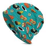 U Shape Fruits de mer Sushi crevette Wasabi japonais Unisexe Femmes Hommes Bonnet Ample surdimensionné Baggy crâne Casquette Extensible en Tricot