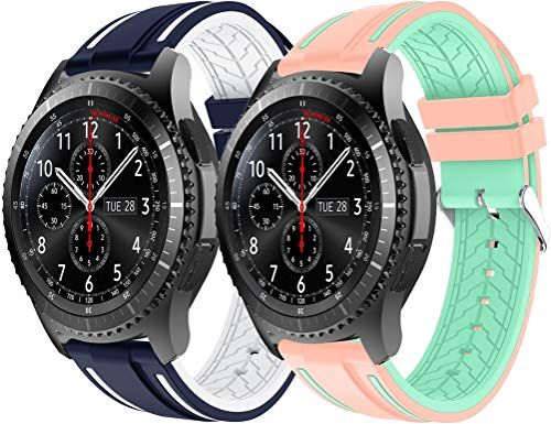 Gransho Correa de Reloj 22mm, Impermeable Reemplazo Correas Reloj Silicona Banda (22mm, 2PCS D)