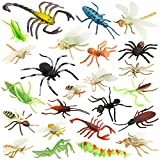 """Insect Bug Toy Figures for Kids Boys (24pcs), 2-4"""" Fake Bugs - Fake Spiders, Cockroaches, Scorpions, Crickets, Lady Bugs, Mantis and Worms for Education and Christmas Party Favors by Pinowu"""