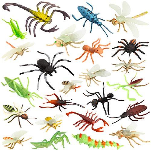 Pinowu Insecto Figuras de juguetepara niños (24 Piezas), 3-8 cm Realistas Figuras Incluyen Arañas Falsas, Cucarachas, Escorpiones, Grillos, Lady Bugs, Mantis y Gusanos para educacion favores Fiesta