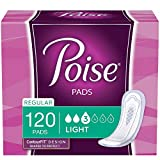 Poise Incontinence Pads, Light Absorbency, Regular Length, 120 Count (4 Packs of 30), Packaging May Vary