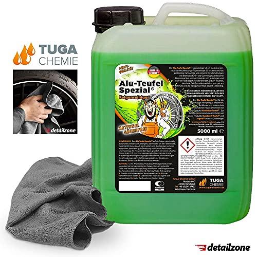 detailzone Felgenreiniger Set: 1x TUGA Alu Teufel Spezial grün 5 Liter + 1x Microfasertuch 40x40 cm grau
