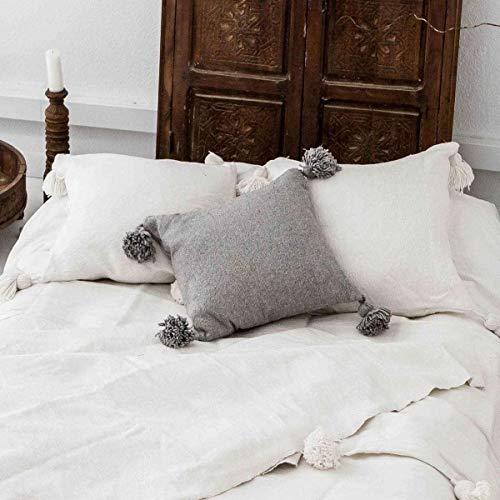 ZH ZocoHome Pompom Cushion Cover | Light Grey | 60x60cm