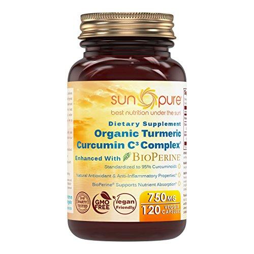 Sun Pure Premium Quality Turmeric Curcumin C3 Complex with Bioperine 750 Mg 120 Veggie Capsules