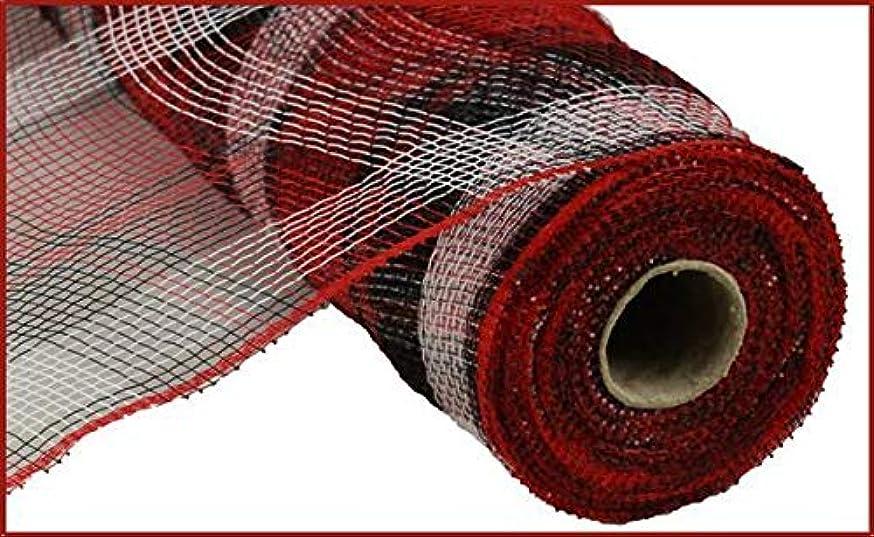 Plaid Deco Poly Mesh Ribbon - 10 inch x 10 Yards (Red, Black, White)