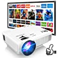 DR. J Professional HI-04 Mini Projector Outdoor Movie Projector with 100Inch Projector Screen, 1080P Supported Compatible with TV Stick, Video Games, HDMI,USB,TF,VGA,AUX,AV [Latest Upgrade] by DR. J Professional