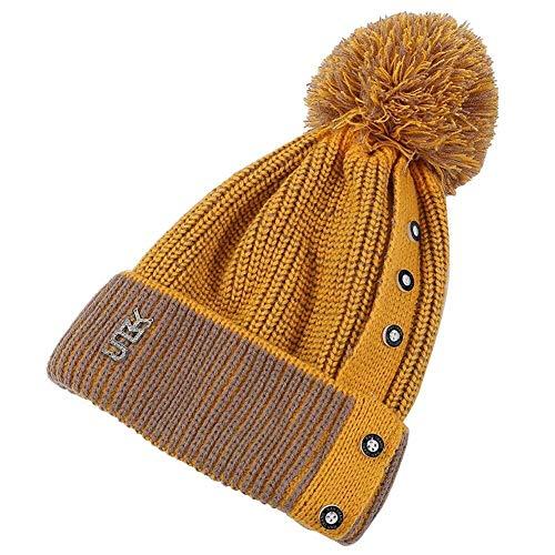 H.ZHOU Hat Kabel gestrickte Pudelmütze Womens Beanie SlouchyWarm Winter-Thick im Freien windundurchlässige Hut Hohe Wärmedämmung (Color : Yellow)