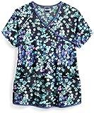Strictly Scrubs Women's Floral Blossoms Print Stretch Scrub Top – Mock Wrap Medical Scrub Top (2X-Large)