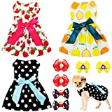 3 Pieces Dog Dress Cute Pet Clothing and 6 Pieces Dog Hair Bow with Elegant Ribbon Pet Apparel for Puppy Dogs and Cats on Wedding Holiday New Year Spring Summer (Rose, Lemon, White Polka Dot, S)