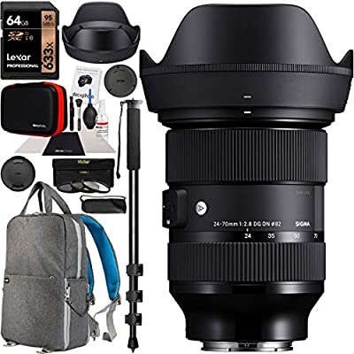 """Sigma 24-70mm F2.8 DG DN Art Zoom Lens for Sony E Mount Mirrorless Cameras Bundle with Deco Gear Camera & Lens Photography Backpack + 64GB Memory Card + Filter Kit + 72"""" Monopod and Accessories by SIGMA"""