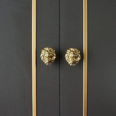 Wwxuanke Lion Door Knob, Brass Lion Knob, Single Hole Door Creative Animal Lion Head Door Knob, Wardrobe and Shoe Cabinet Dra
