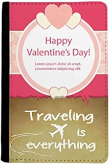 Pink Happy Valentine's Day Heart and Rose Traveling quato Passport Holder Travel Wallet Cover Case Card Purse