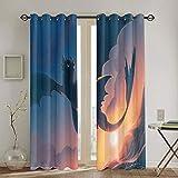 Juego de cortinas decorativas con diseño de dragón para habitaciones infantiles, 106,7 x 137,1 cm