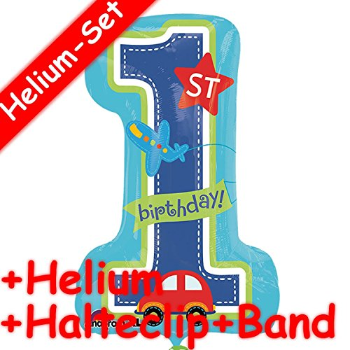 Folieballon set * birthday BOY + helium vulling + clip + band * voor kinderverjaardag of themafeest // super shape // folies ballon helium decoratie ballongas motto eerste 1 geboorte blauwe doop