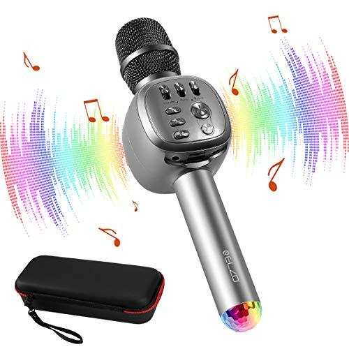 ELZO Karaokemicrofoon, 4-in-1, draadloze bluetooth-microfoon met luidspreker, draagbare karaokemicrofoon, kinderen met Glowing LED-panelen, voor spraak- en zangopnames, compatibel met Android/IOS, PC Ruimteruimte grijs