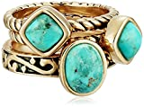 Barse 'Glisten' Bronze Turquoise Stack Ring, Size 8
