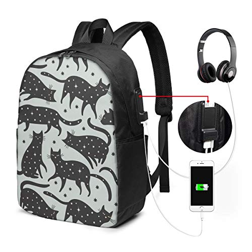 Animal Cat Pattern Laptop Backpack, Business Travel Work Laptop Bag with USB Charging Port, Waterproof Backpack for Girls Men Women, Anti-Theft College School Gift Backpack
