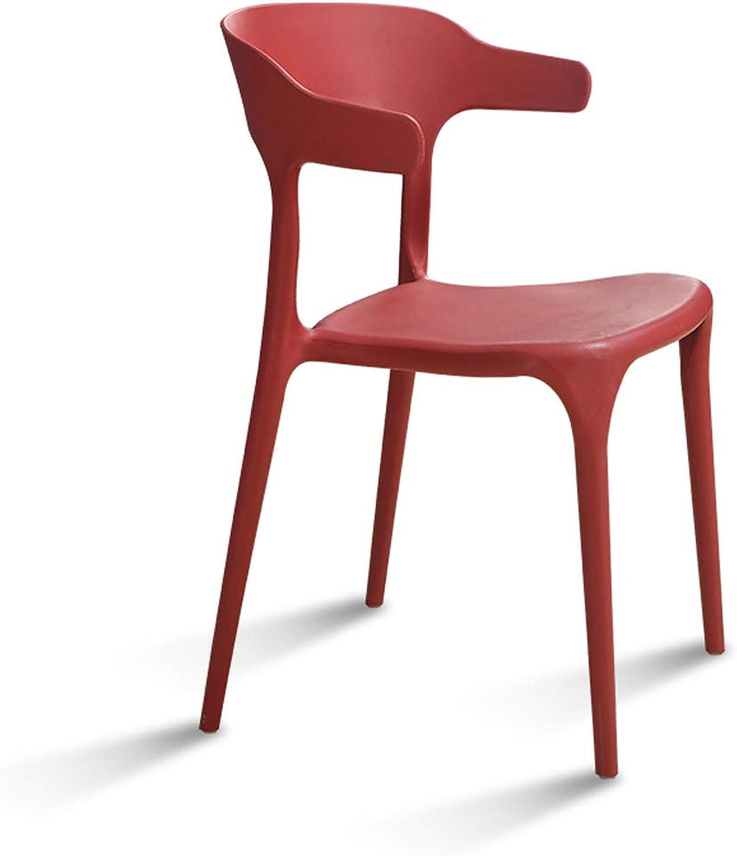 LRW Modern Minimalist Plastic Chair, Nordic Fashion Leisure Chair Restaurant, Creative Backrest Stool, Wine Red