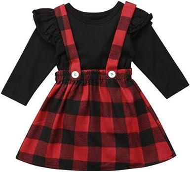 Geagodelia Vestido de Navidad para niña, diseño de cuadros rojos, vestido de bebé, manga larga, camisas, ropa de Navidad, conjunto de vestido, disfraz ...