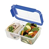 SnapLock by Progressive Deep Split Container - Blue, Easy-To-Open, Leak-Proof Silicone Seal, Snap-Off Lid, Stackable, BPA FREE