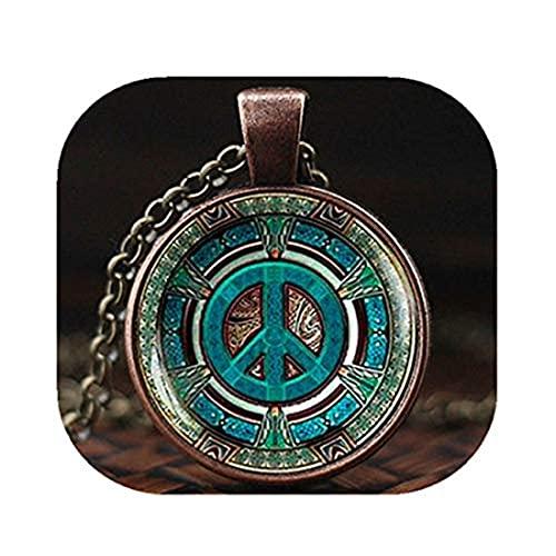 Youkeshan Collar hippie, colgante hippie, joyería hippie, collar de señal de paz, joyería de paz, colgante de paz, collar de hombre hippie