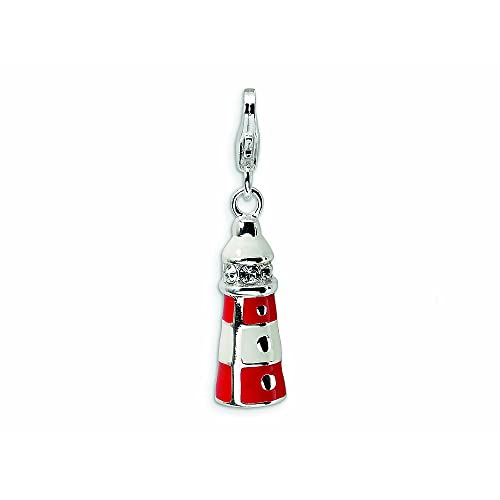 Amore La Vita Sterling Silver 3-D Enameled Double Deck Bus with Lobster Clasp Charm