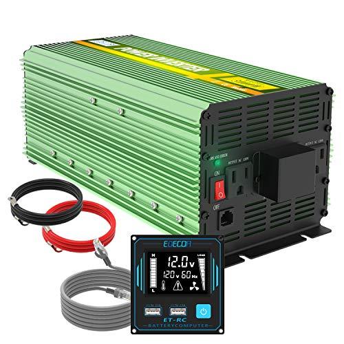 EDECOA 3000 Watt Power Inverter DC 12V to AC 110V 120V for Car Truck RV with LCD and Dual USB Romte Controller (ET-RC)