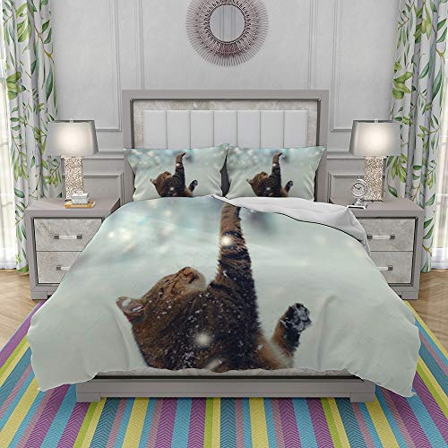 JOLIEAN Duvet Cover Set-Bedding,Happy Cat Playing With Snow At Blizzard,Quilt Cover Bedlinen-Microfibre 220x240cm with 2 Pillowcase 50x80cm