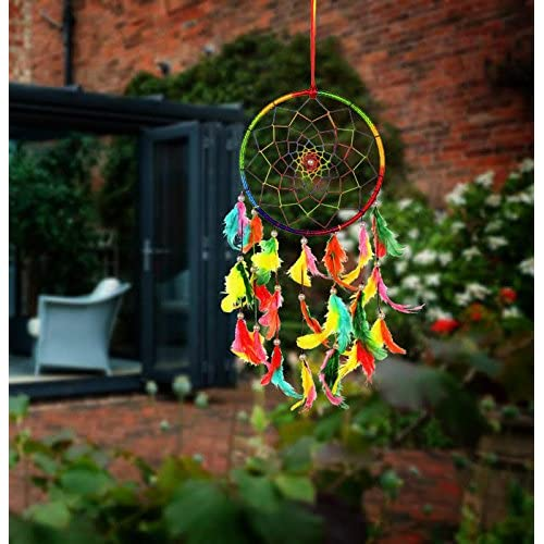 Ilu Dream Catcher Wall Hanging Handmade Beaded Circular Net Decoration Ornament Size 16 Cm Diameter
