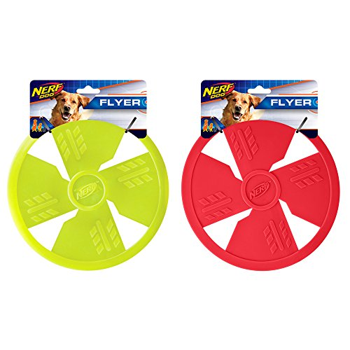 Nerf Dog Classic Flyer Dog Toy, Frisbee, Lightweight, Durable and Water Resistant, Great for Beach and Pool, 10 inch diameter, for Medium/Large Breeds, Two Pack, Red and Green, Green and Red (8958)