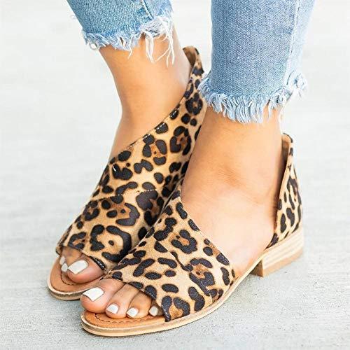 LDDNZH Sandalen voor dames, zomer, luipaard grote vis mond dames sandalen Bohemen Romeinse Light Slip Print op vrouwelijke schoenen voor Ankle Strap Outdoor Anti Slip and Beach Walking Zomer Dames sandalen