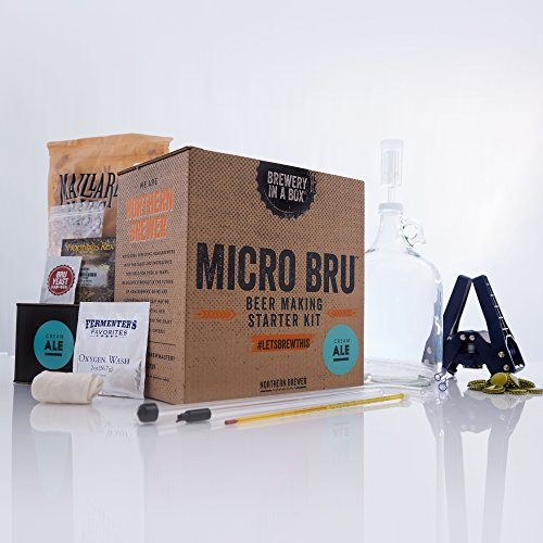 Micro Bru All Grain Beer Brewing Starter Kit with 1 Gallon Cream Ale Recipe - Homebrewing Set for Making Craft Beer